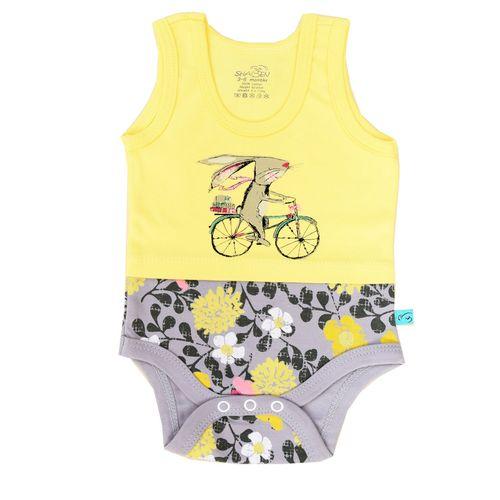 زیردکمه دار آستین رکابی شابن طرح خرگوش و دوچرخه