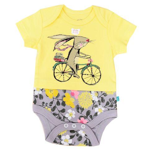 زیردکمه دار آستین کوتاه شابن طرح خرگوش و دوچرخه