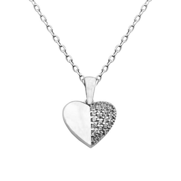 گردنبند نقره طرح قلب کد FL 221