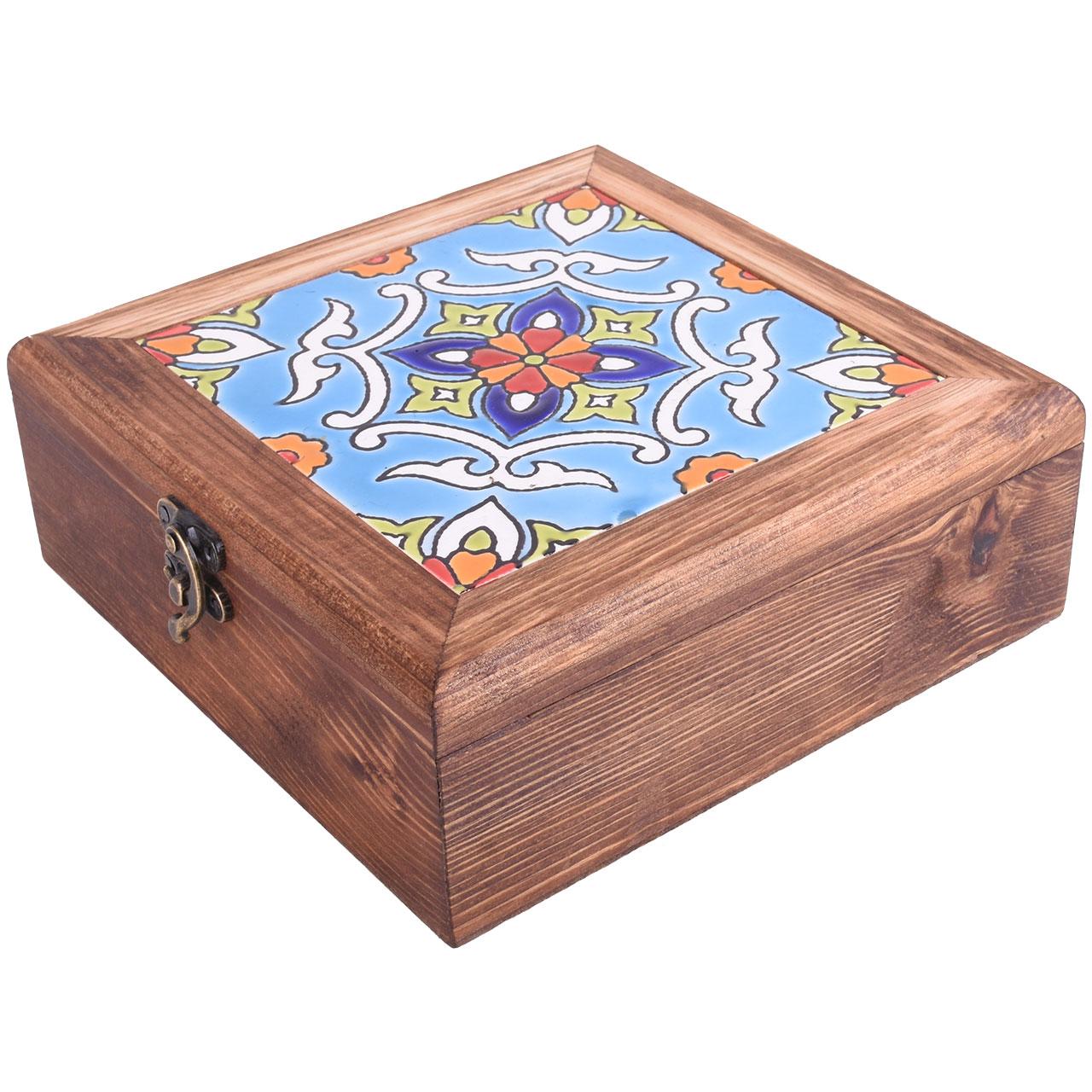 جعبه هدیه طرح کاشی قاب ختایی مدل 01-12 سایز 20 سانتیمتر