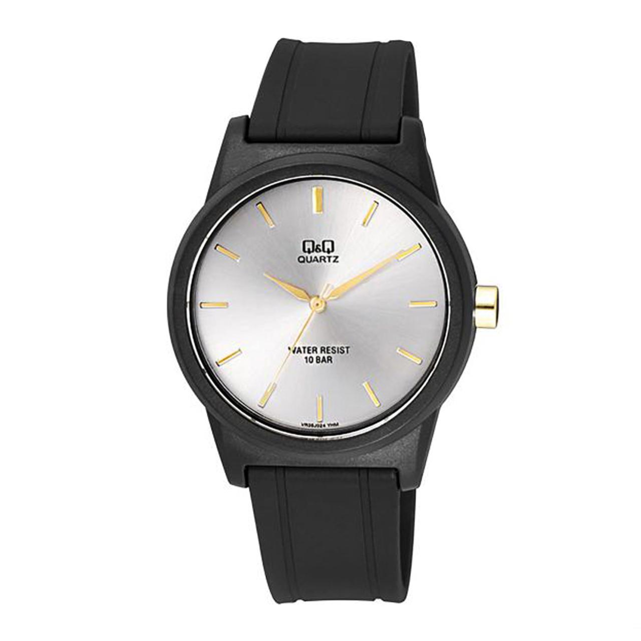 ساعت مچی عقربه ای مردانه کیو اند کیو مدلVR35J024Y به همراه دستمال مخصوص برند کلین واچ