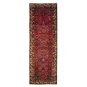 فرش قدیمی دستبافت کناره طول دو و نیم متر کد 0057