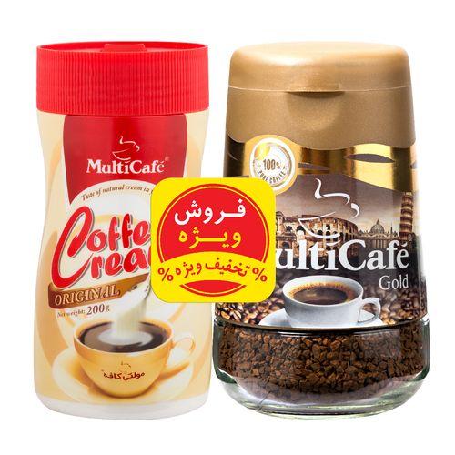 قهوه فوری گلد مولتی کافه مقدار 100 گرم به همراه کافی کریمر مولتی کافه مقدار 200 گرم