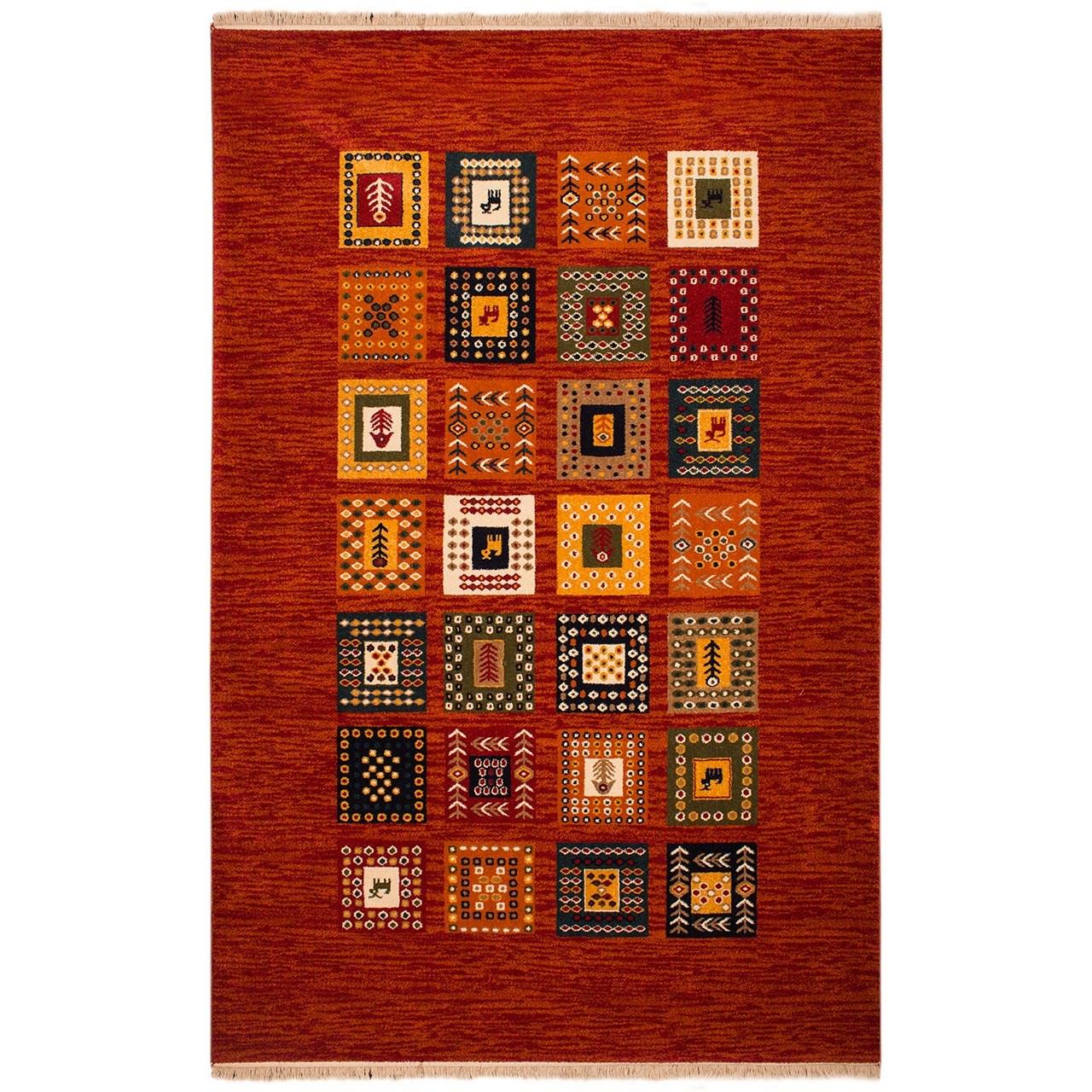 فرش ماشینی ساوین طرح مهر کد FSM51 زمینه قرمز