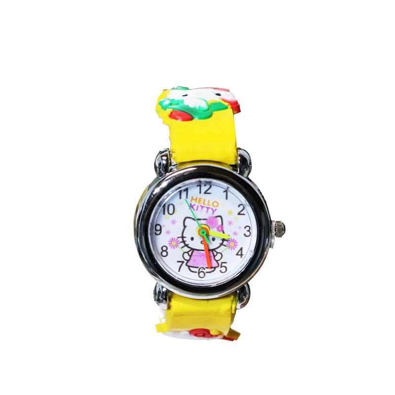 ساعت مچی عقربه ای بچگانه مدل Kitty-Yellow-7823