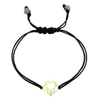 دستبند طلا 18 عیار طرح قلب مدل G320
