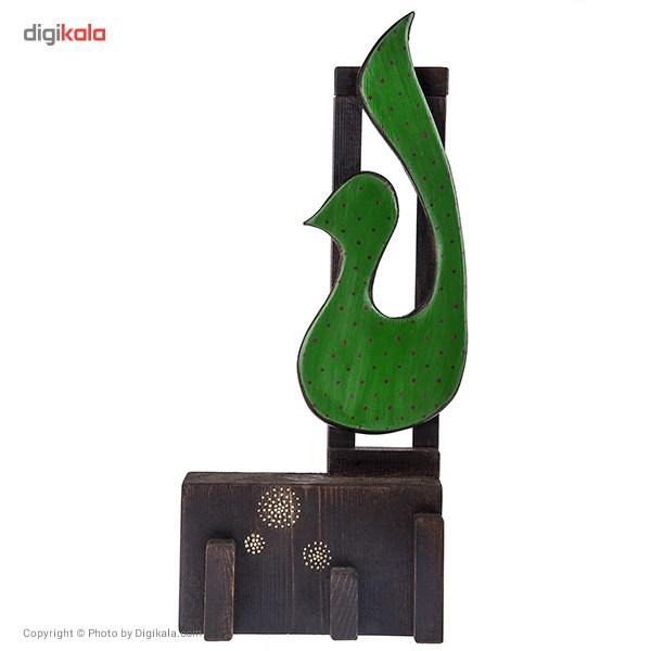 خرید                      تابلو چوبی گالری ویلو وود مدل پایه دار طرح پرنده سبز