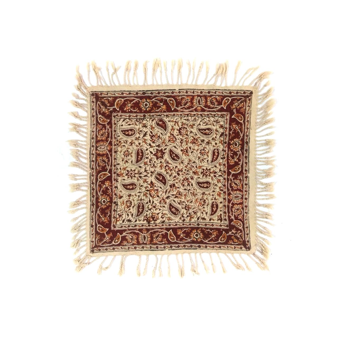 پارچه قلمکار لوح هنر طرح درهم بادامی کد 818 سایز 35 × 35