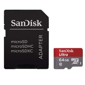 کارت حافظه microSDXC سن دیسک مدل Ultra کلاس 10 استاندارد UHS-I سرعت 533X 80MBps همراه با آداپتور SD ظرفیت 64 گیگابایت
