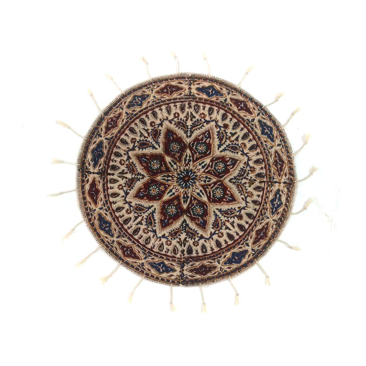 پارچه قلمکار لوح هنر طرح ترنج کد 845 سایز 40*40 سانتی متر