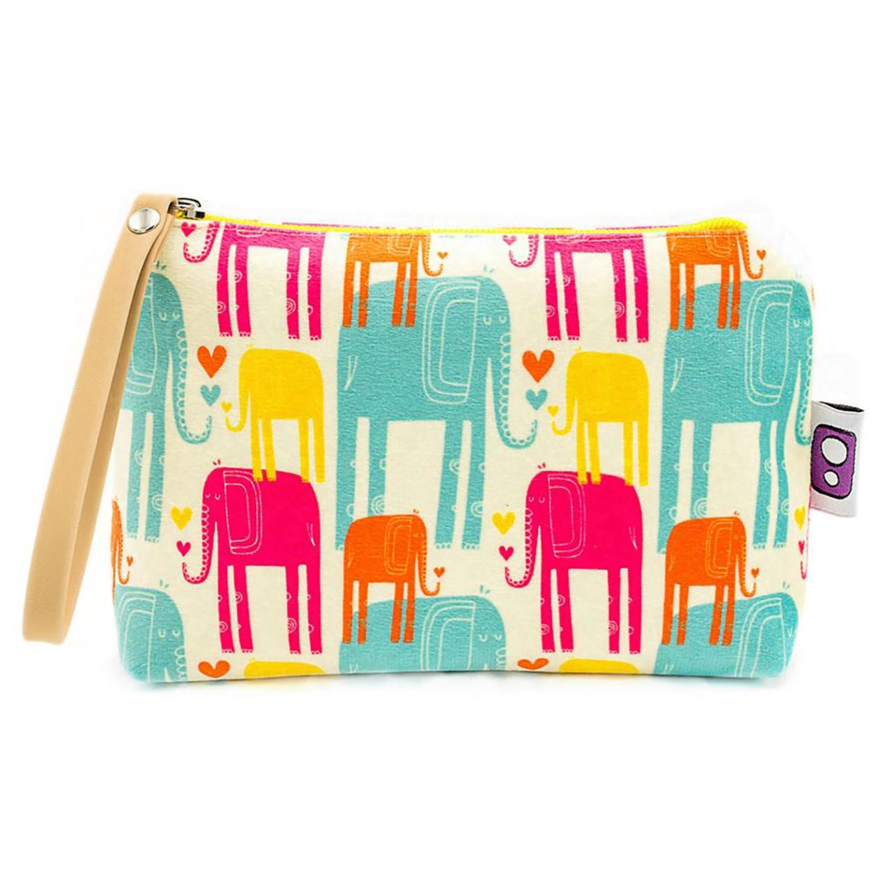 کیف لوازم آرایش هیدورا طرح فیل های رنگی