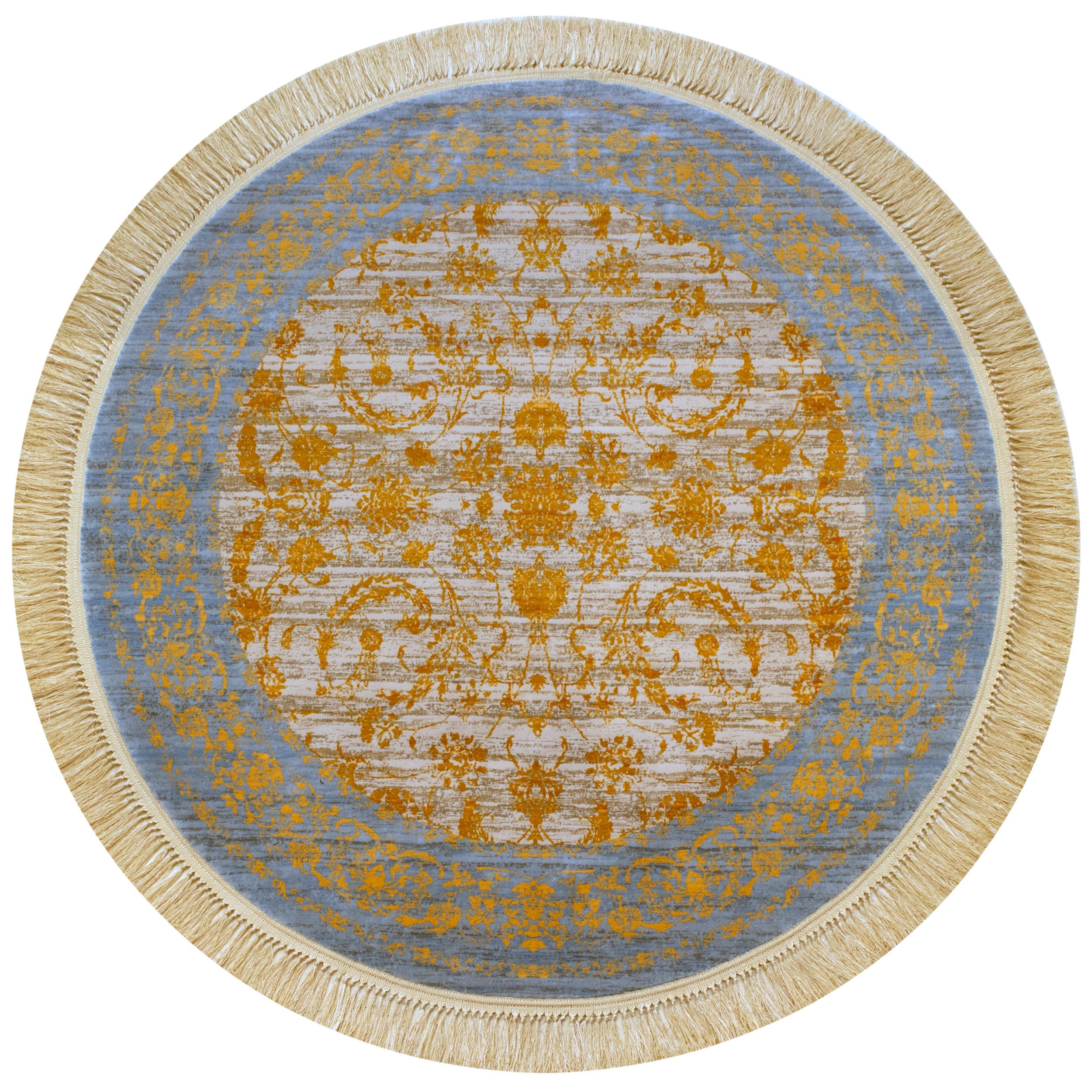 فرش ماشینی رادین طرح گرد پتینه افشان 138 رنگ زمینه طوسی حاشیه آبی