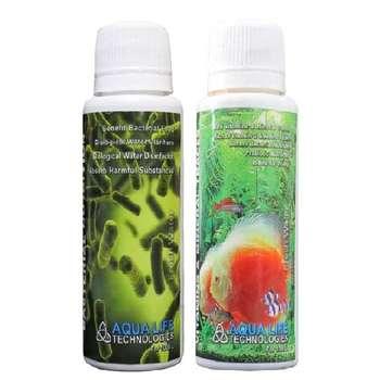 پک محلول خوراک باکتری های مفید و محلول مولتی ویتامین آکواریوم آکوالایف حجم 100 میلی لیتر