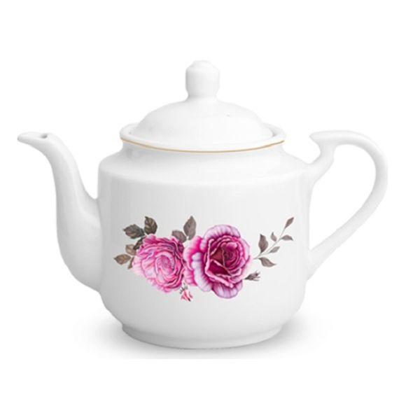 قوری چینی زرین ایران مدل Roseflowerدرجه عالی متوسط