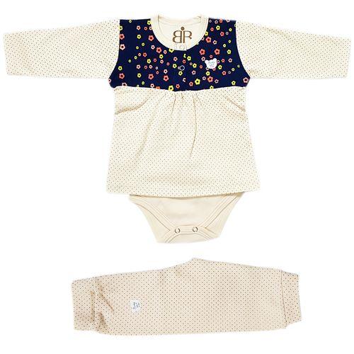 ست لباس نوزادی زیردکمه دار بارلی مدل گل افشان 001