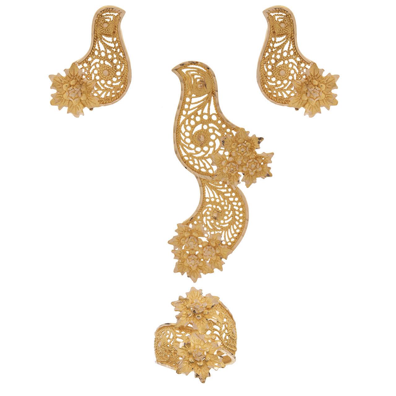 نیم ست طلا 18 عیار طلاسازی زرین مدل طاووس کد 105