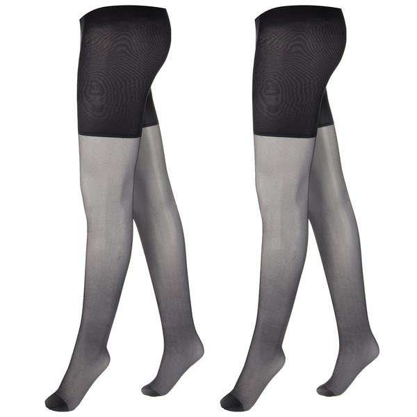 جوراب شلواری آلمانی  زنانه نوردای  مشکی کد 725920/2 بسته 2 عددی