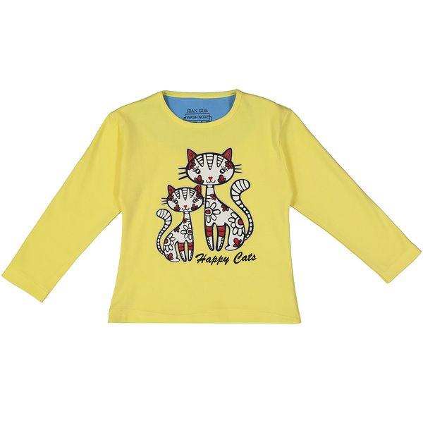 تی شرت آستین بلند دخترانه ایران گل مدل cat family 05