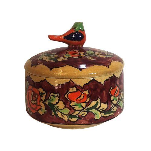 قندان سفالی نقاشی لوح هنر طرح پرنده دار کد 880
