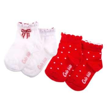 جوراب دخترانه کنته کیدز مدل پاپیون دار رنگ قرمز مجموعه 2 عددی |
