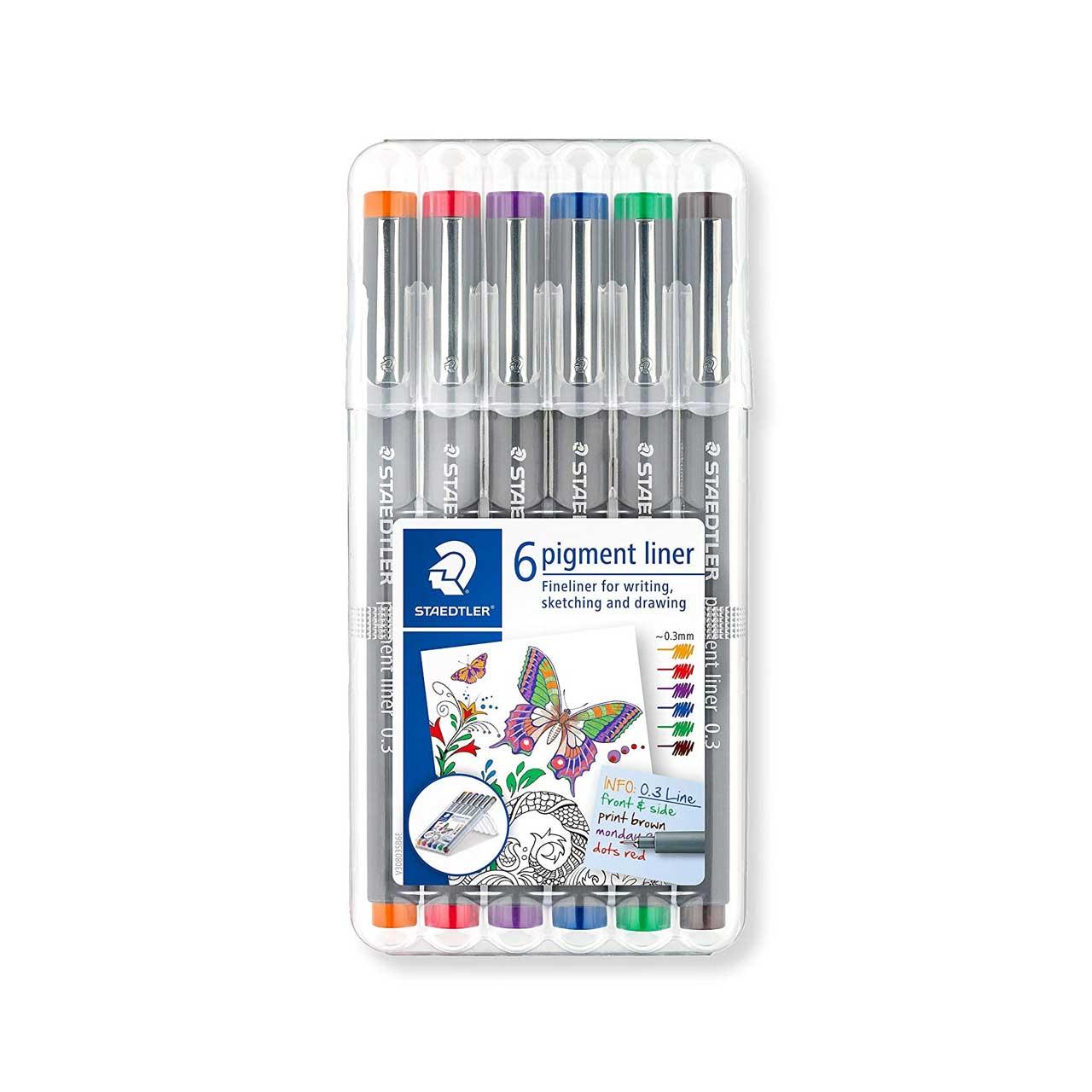 راپید استدلر مدل Pigment Liner کدSSB6-30803 قطر نوشتاری 0.3 میلی متر بسته 6 عددی