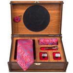 ست کراوات و دستمال جیب و دکمه سردست مردانه مدل GF-PA757-BOX