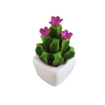 گلدان به همراه گل مصنوعی طرح کاکتوس همیشه بهار کد HBR21