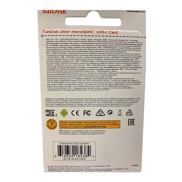 کارت حافظه microSDHC سن دیسک مدل Ultra کلاس 10 استاندارد UHS-I سرعت 100MBps ظرفیت 32 گیگابایت main 1 4
