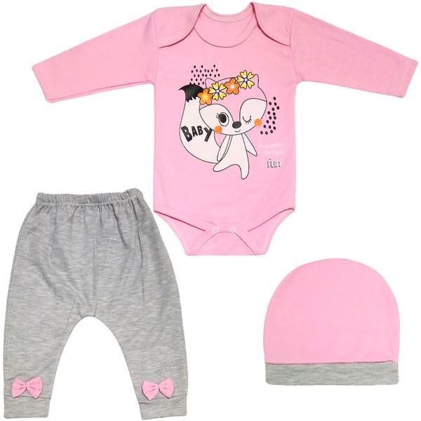 ست 3 تکه لباس نوزادی دخترانه طرح روباه کد FF-169