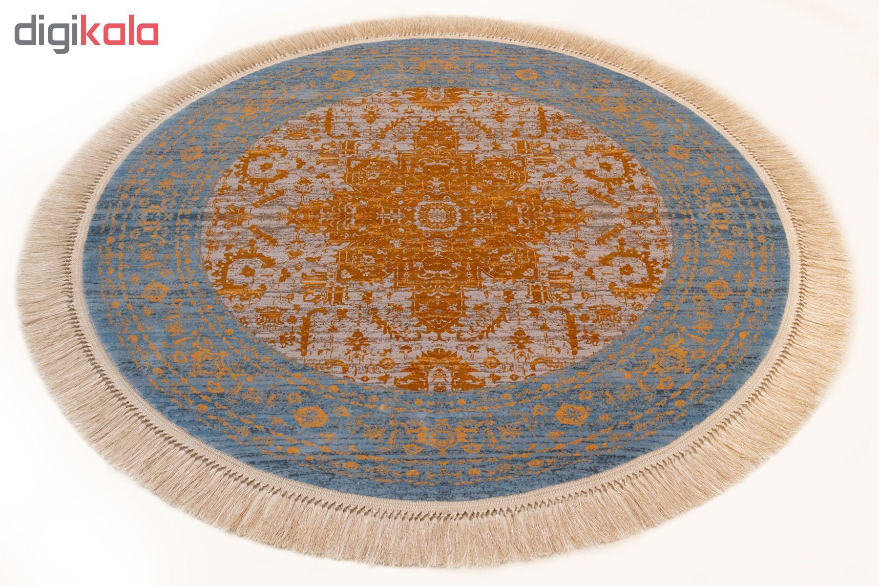 فرش ماشینی رادین اصفهان طرح گرد پتینه هریس رنگ زمینه طوسی ح آبی