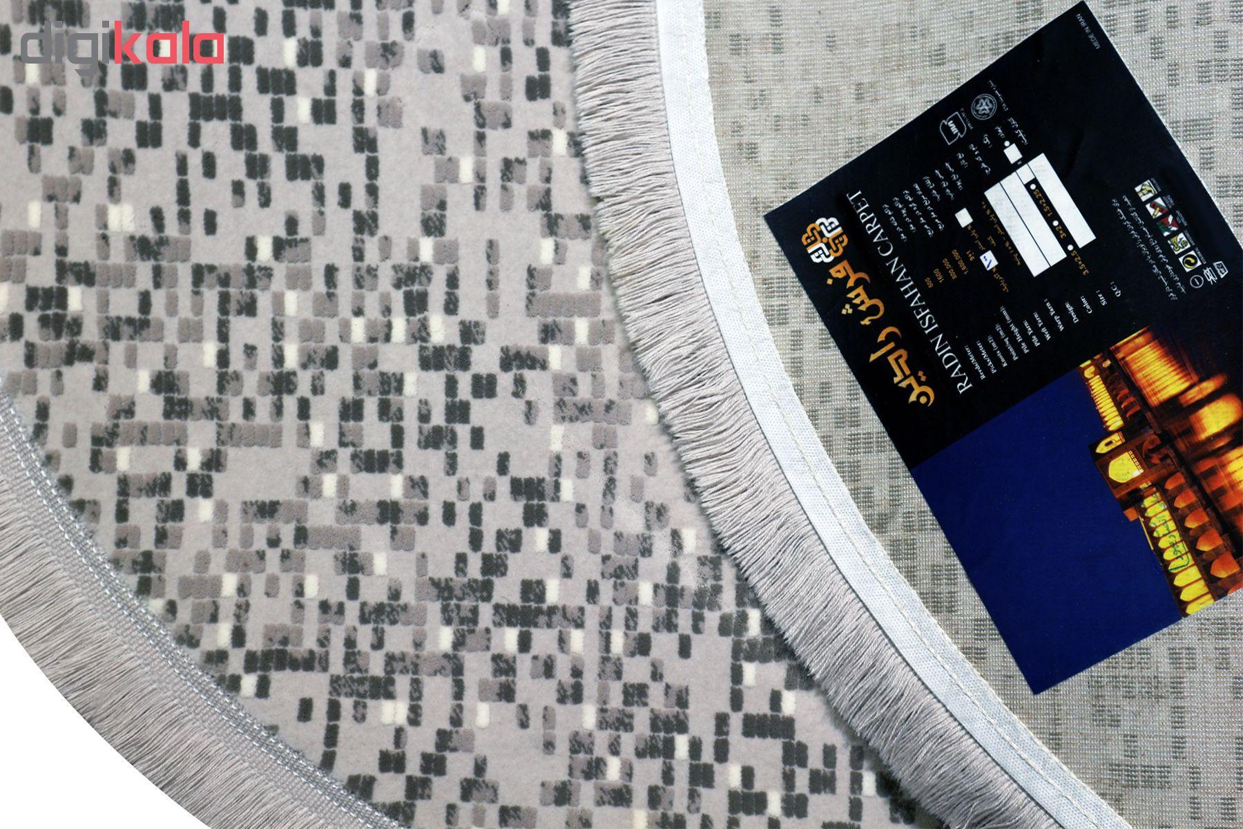 فرش ماشینی رادین طرح گرد آیدا رنگ زمینه طوسی
