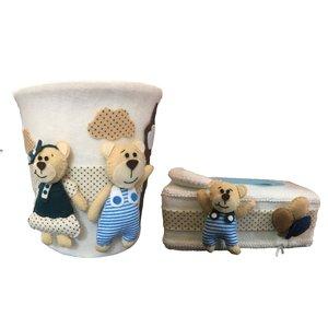 ست سطل و جادستمال کاغذی اتاق کودک طرح خرس خانواده