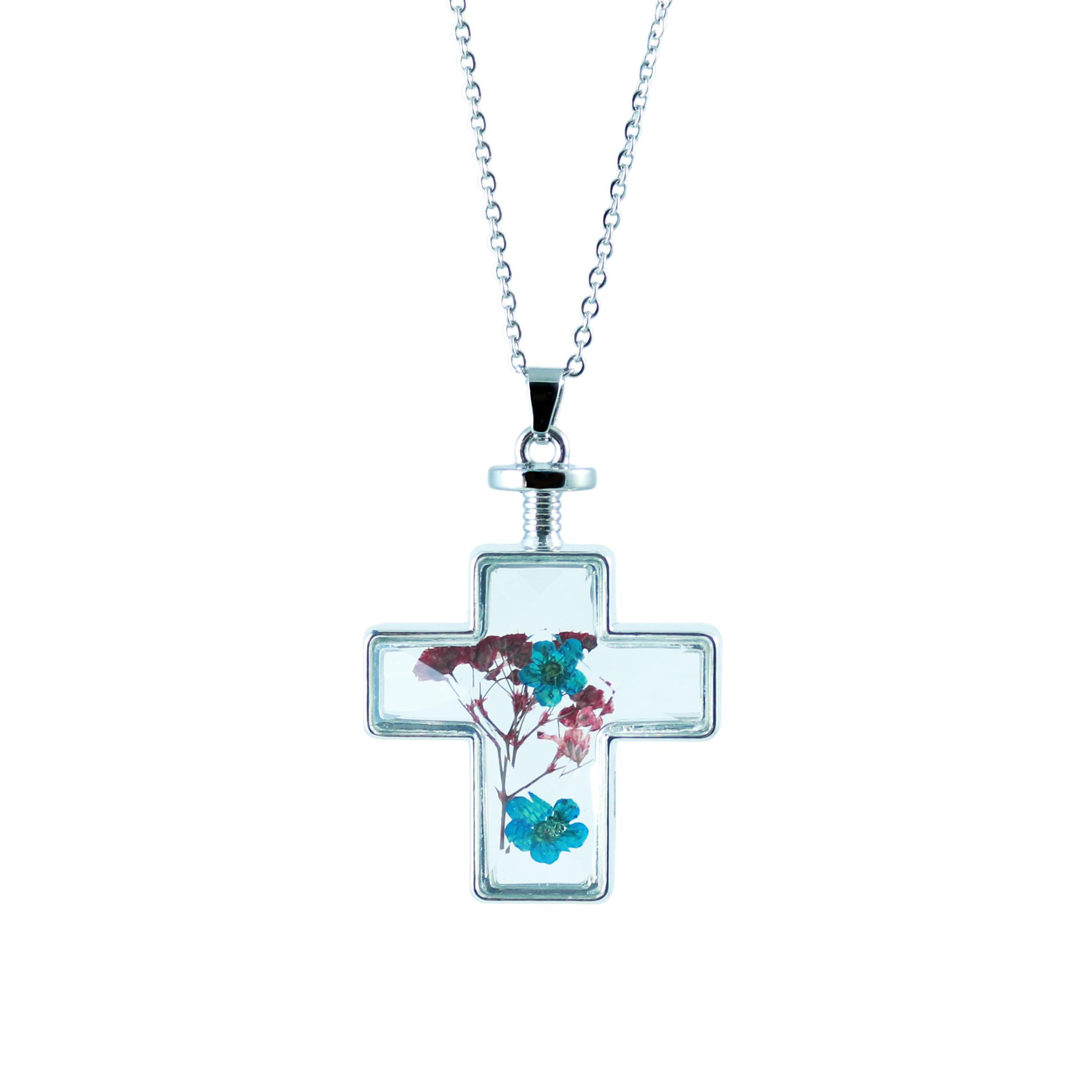 قیمت گردنبند طرح صلیب و گل خشک مدل 5417