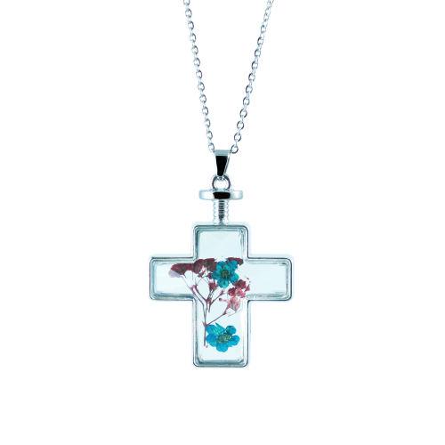 گردنبند طرح صلیب و گل خشک مدل 5417