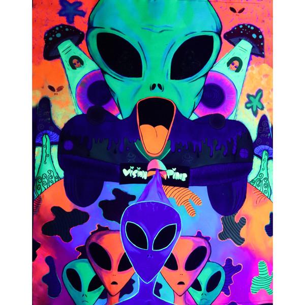 تابلو نقاشی طرح فضایی ها مدل بکدراپ بلک لایت کد 4637