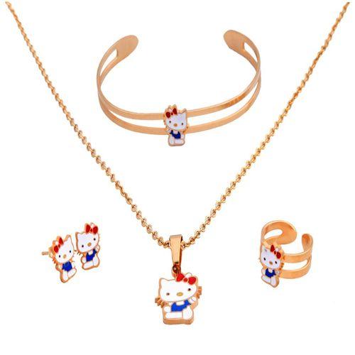 ست بچه گانه استیل طرح کیتی شامل گردنبند دستبند گوشواره و انگشتر مدلZ-1016