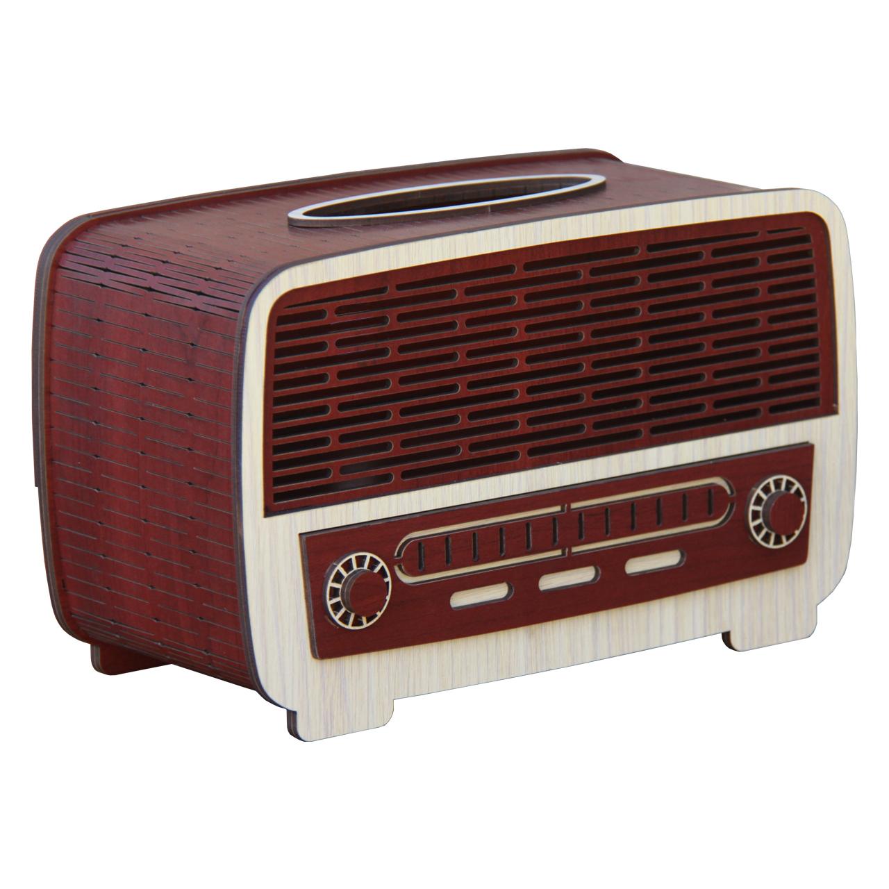 جعبه دستمال کاغذی چوبی  اس ای دکور  مدل رادیو قدیمی