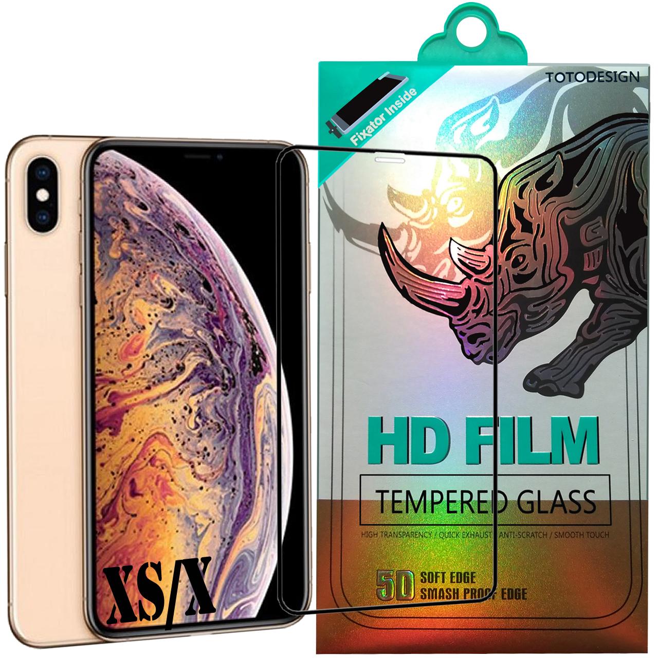 محافظ صفحه نمایش توتو تمام چسب مدل HD1075D مناسب برای گوشی موبایل اپل iPhone Xs/x