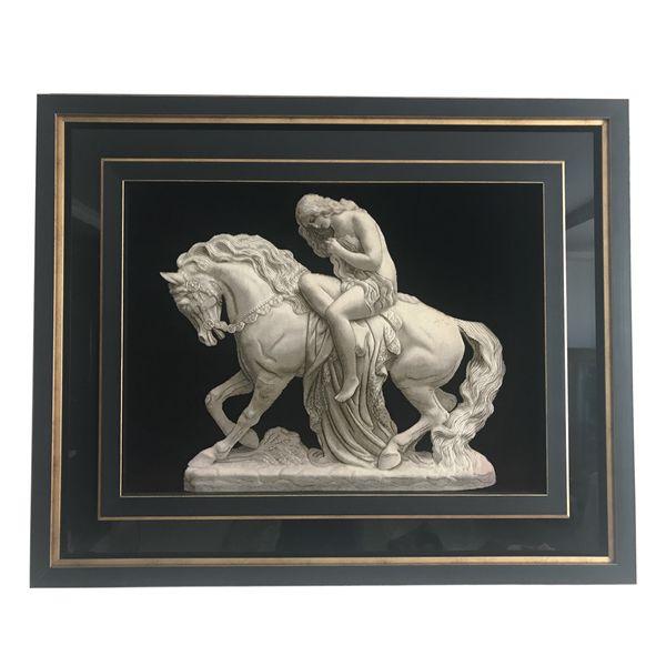 تابلو فرش دختر اسب سوار