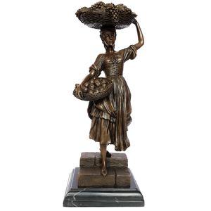 مجسمه آلیاژی از برنز لاکچری اچ کی طرح دختر سبد به سر کد ٍEPA-243