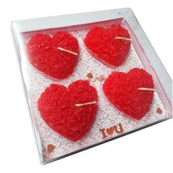شمع طرح قلب مدل گل رز بسته 4 عددی