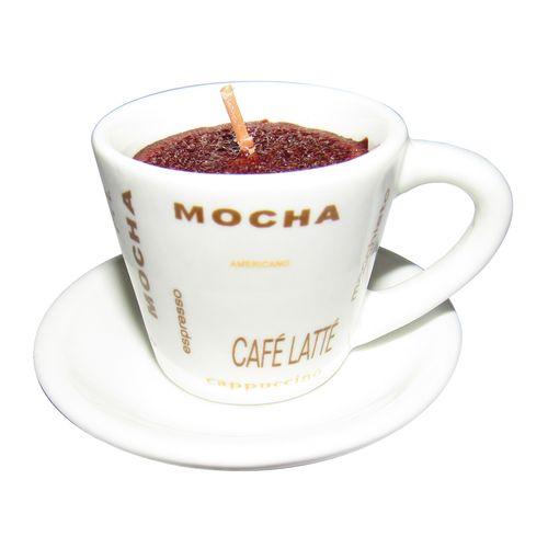 شمع مدل فنجان و نعلبکی چینی قهوه مدل CAFE LATTE به همراه جا کلیدی برج ایفل
