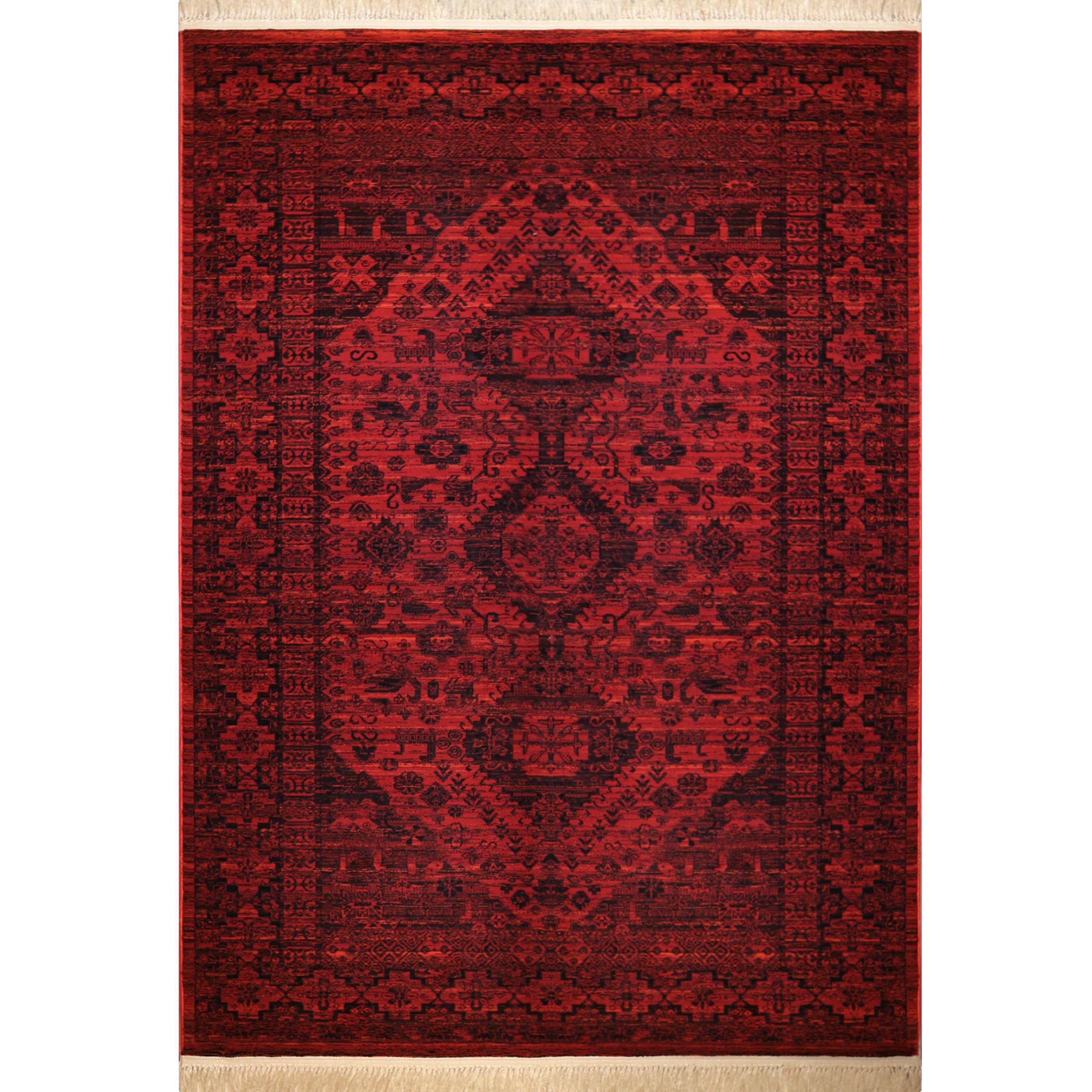 فرش ماشینی رادین طرح پتینه بلوچ 4 رنگ زمینه اناری