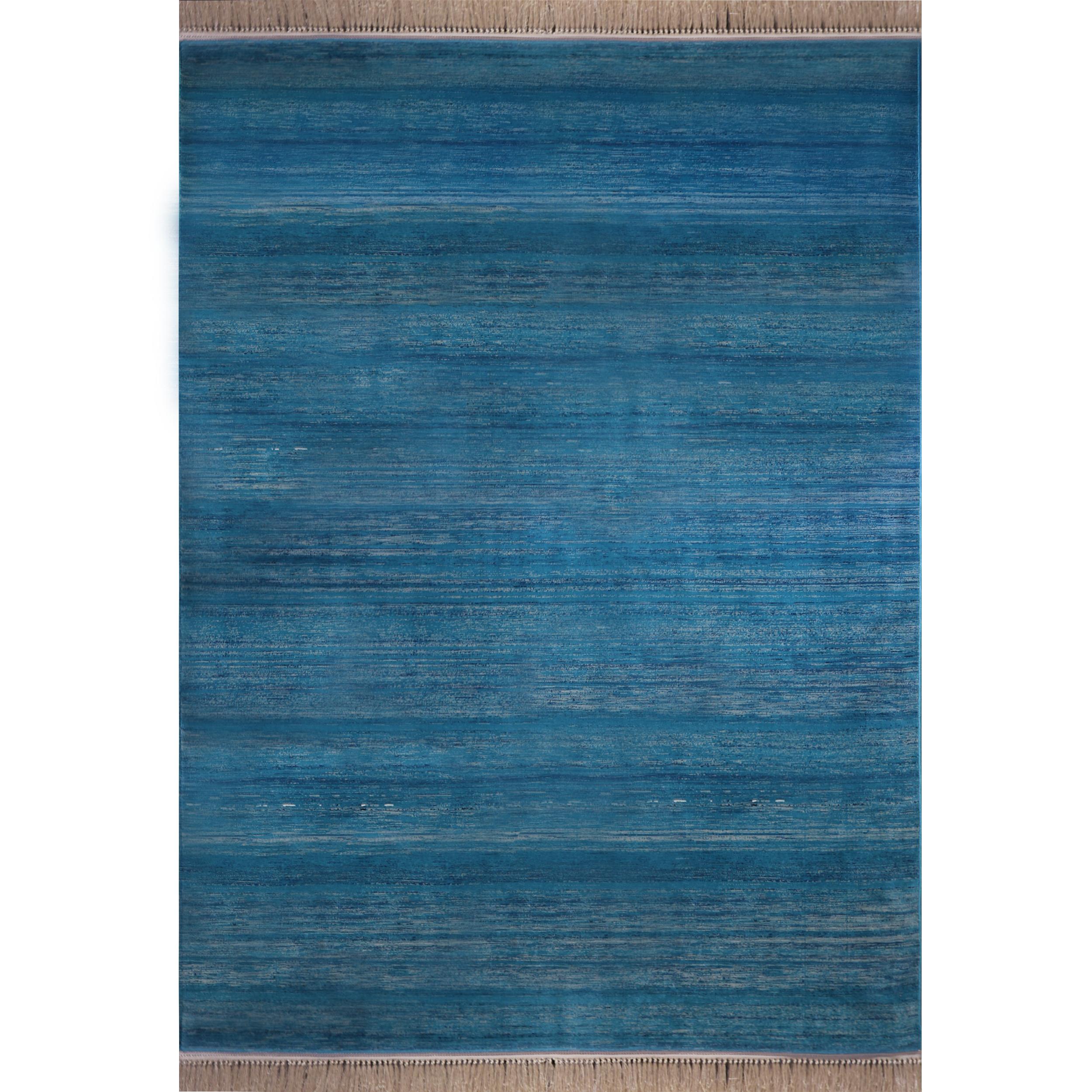فرش ماشینی رادین طرح گبه 14 رنگ زمینه کله غازی