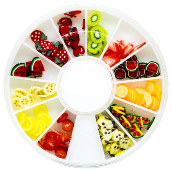 پک تزیین ناخن طرح گل میوه مدل Fruit مجموعه 12 عددی