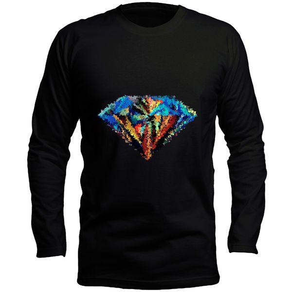تیشرت آستین بلند مردانه طرح الماس کد LB127