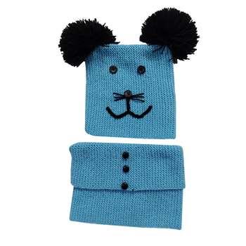 ست کلاه و شال گردن بافتنی بچگانه مدل سینا کد ue
