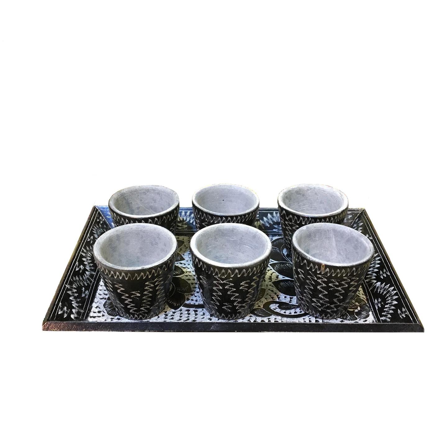سرویس قهوه خوری سنگی 7 پارچه طرح توران کدSGHG02