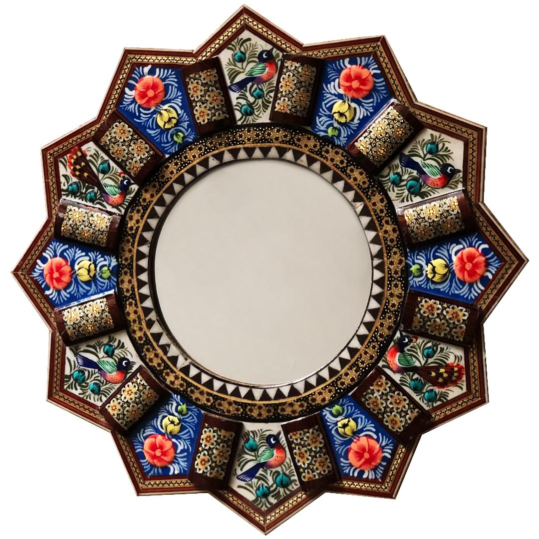 آینه خاتم کاری طرح گل و مرغ
