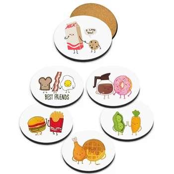زیرلیوانی 6 عددی گرد واته آرت مدل خوراکی ها